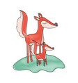 cartoon fox mom and cub over grass in colored vector image vector image