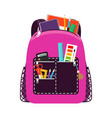 children pink school bag pack vector image vector image