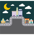city buildings road urban street landscape night vector image vector image