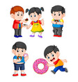 collection of children eating the doughnut vector image vector image