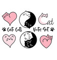 cute yin yang cats set cute yin yang cats vector image vector image