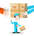 delivery service hands with package and man vector image vector image