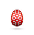 easter egg 3d icon red silver egg isolated white vector image vector image
