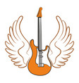 electric guitar with wings vector image