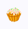 glazed sprinkle vanilla muffin isolated on the vector image