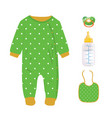 green baby boy set vector image vector image