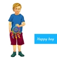 Happy boy in summer clothes with Dreamcatcher vector image