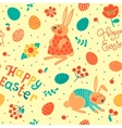 Happy Easter seamless pattern with cute bunnies vector image