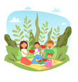 happy family with kids on picnic with watermelon vector image vector image