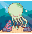 happy octopus sea animal with shell vector image