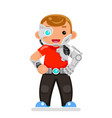 inventor engineer cyborg kids science scifi vector image