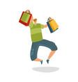 jumping customer with shopping bags shopaholic vector image vector image