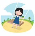 little girll playing a swing enjoying playground vector image