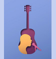 man singer inside paper cut guitar instrument vector image