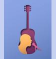 man singer inside paper cut guitar instrument vector image vector image