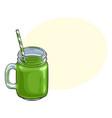 matcha green tea smoothie in glass jar mug vector image vector image