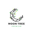 moon tree crescent root leaf logo icon vector image