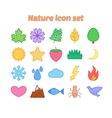 Nature icon set with outline flat environmental vector image vector image