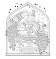 page for coloring book couple beautiful vector image