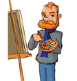 painter with brush and palette vector image vector image