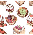 pattern of various fruit cakes vector image vector image