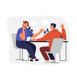 people recording podcast man and woman vector image vector image