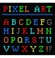 pixel art color font set letters vector image