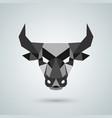 polygonal bull head vector image