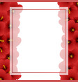 red hibiscus - rose of sharon banner card border vector image vector image