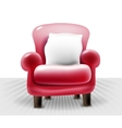 red leather chair with a white pillow realistic vector image