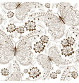 repeating white floral pattern with vintage brown vector image vector image