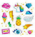 retro stickers cute colored sweet kissing jacket vector image vector image