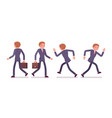 set of businessman in walking running poses rear vector image vector image