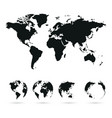 set of globe planet earth with all continents and vector image vector image