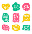 set of sale lettering in comic speech vector image vector image