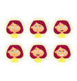 set of woman emotions facial expression girl vector image
