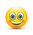smiling emoji big realistic green eyes vector image