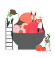 strawberry ice cream production concept vector image