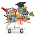 Trolley with School Supplies vector image