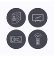 TV remote VHS cassette and PC case icons vector image vector image