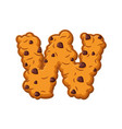 w letter cookies cookie font oatmeal biscuit vector image vector image