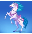 White horse on blue background symbol of 2014 vector image vector image