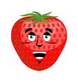 strawberry happy emoji red berry merryl emotion vector image