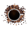 A Hot Coffee with Roasted Coffee Beans vector image vector image