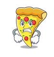 angry pizza slice mascot cartoon vector image vector image