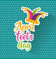 april fools day greeting card colored jester hat vector image vector image