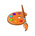 art palette with paint brush icon cartoon style
