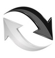 black and white 3d arrows refresh sign vector image vector image