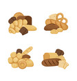 cartoon bakery elements piles set isolated vector image