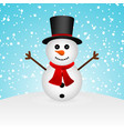 cartoon funny snowman in forest vector image vector image